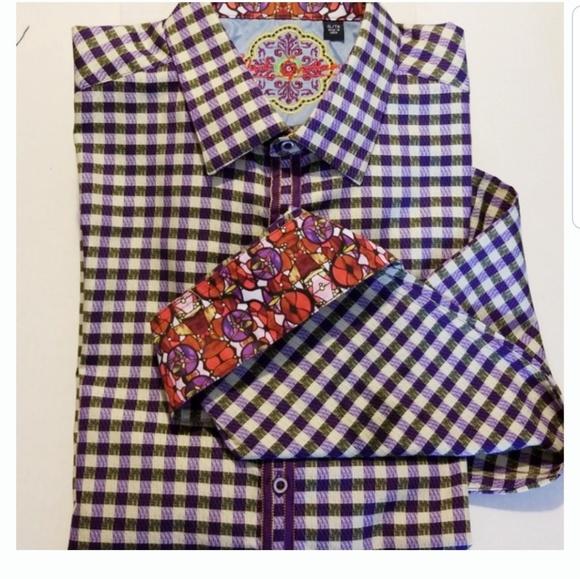 Robert Graham Other - Robert Graham Purple & White Check Shirt XL EUC!